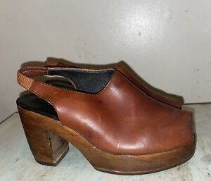 Vintage RARE 90s GINO MORGANTI Womens Chunky Wood Platform Leather Clogs 7.5