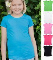 Girls Kids Plain Cotton BLACK WHITE PINK LAVENDER TURQOISE GREEN T-Shirt Tshirt