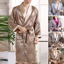 Mens Satin Silk Luxury Pajamas Kimono Bathrobe Robe Dressing Gown Pjs Loungewear