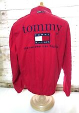 Tommy Hilfiger men's size L Large red jacket zip up front Huge spell out back