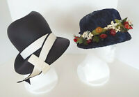 Vintage Straw Hats Summer Navy Blue Coralie Fruit Floral Accents Estate Lot