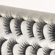 10 Pairs Women Thick Long Cross Party False Eyelashes Black Band Fake Eye Lashes