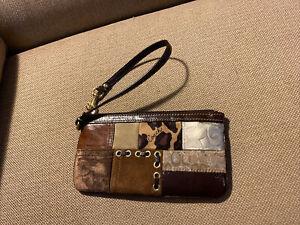 COACH Patchwork Signature Patch Jacquard Leather Wristlet Wallet Pouch