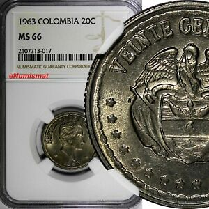 Colombia 1963 20 Centavos Simon Bolivar NGC MS66 TOP GRADED BY NGC KM# 215.2(7)
