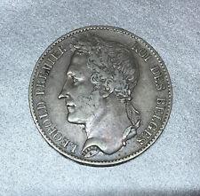 BELGIQUE / BELGIEN LEOPOLD I ROI de BELGES tête laurée 5 FRANCS 1849 en ARGENT.