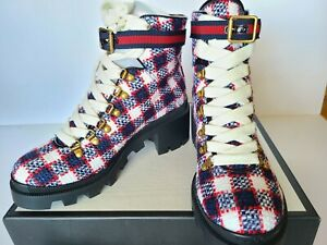 New Auth Gucci Tweed Combat Boots Sylvie Web Blue Red White  Eur 39/ US 9