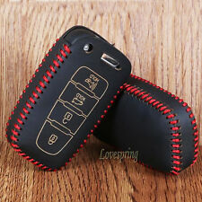 Leather Smart Key Fob Case Cover for HYUNDAI Elantra Sonata Veloster 4 Buttons