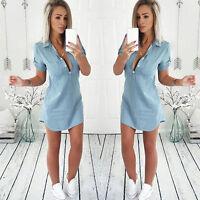 Women's Denim Long Blouse Short Sleeve Slim Fit Casual Shirt Tops Mini Dress