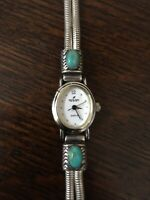 Peyote Bird Sterling & Turquoise Bracelet Watch Toggle Clasp Southwestern