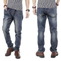 Mens Jeans Elastic Waist & Tie Jogger Pants Regular Fit Dark Wash Black W40 W44