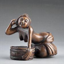 """1940's Japanese Boxwood Wood Netsuke """"Nude Lady Bathing"""" Figurine Carving"""