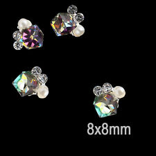 4 LARGE METAL BACK SQUARE CRYSTAL TIP NAIL ART DECORATION JEWELRY CHARMS NAILS