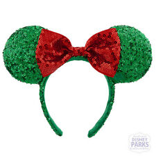 Authentic Disney Parks Holiday Minnie Mouse Ear Headband w Bow Christmas Green