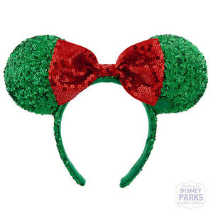 Authentic Disney Parks Holiday Minnie Mouse Ear Headband w Bow Christmas Green