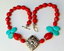"""Genuine Turquoise Howlite Faux Red Coral Silvertone 20"""" Necklace"""