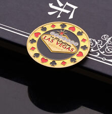 Guard Card Protector Coin Chip Gold Plated + Round Plastic Case Metal Poker