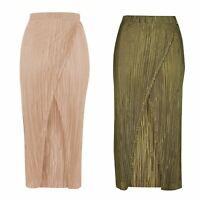 NEW Ex Topshop Plisse Pleat Wrap Long Midi Maxi Skirt Khaki Beige 6 8 10 12 14