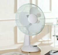 "Schallen White 12"" 3 Speed Electric Oscillate Worktop Desk Table Air Cooling Fan"