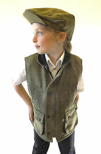Tweed Waistcoat New Kids Made In England Boys Girls Green Toddlers To Teens