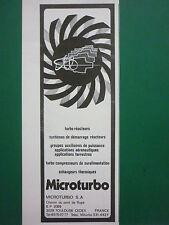 1978-82 PUB MICROTURBO TOULOUSE TURBINE A GAZ REACTEUR CIBLE ORIGINAL FRENCH AD