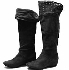 New women's shoes flat knee high fashionable boots studs detail suede like black