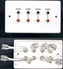 AV Wall Plate, 8 RCA Phono Audio Speaker Sockets, 2 Left/Right/Front/Rear tails