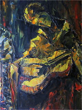 1950 SIGNED YVES JEAN ABSTRACT CUBIST GUITAR OIL PAINTING LIKE BRAQUE EAMES ERA