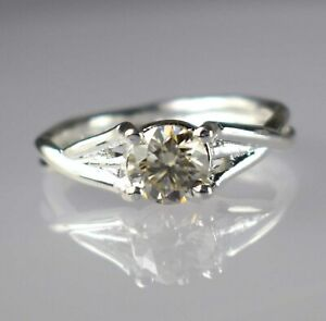 Round 2.03 Ct Certified Champagne Diamond Solitaire Earthmined Ring