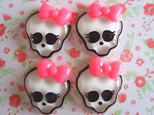 4 x Monster High Girl Skull Bow Flatback Resin Embellishment Crafts Hairbow UK