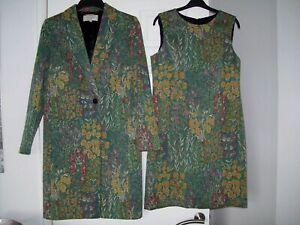 Hobbs Classic 2 piece Multi Colour Coat & Dress Size 10 - PRISTINE