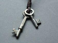 NEW Men's Leather Hemp Metal Surfer Necklace Choker Adjustable Keys