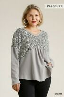Umgee Animal Print Waffle Knit Top With Crisscross Back Plus Size XL 1X 2XL