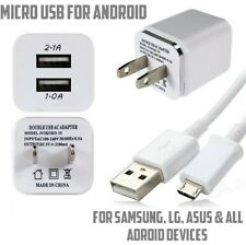 Double USB Wall Charger 1A power adapter & 3ft USB Micro USB Sync Charger Cable