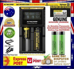 2x Panasonic NCR 18650 B 3400mAh PROTECTED Battery + Nitecor D2 Charger + Case
