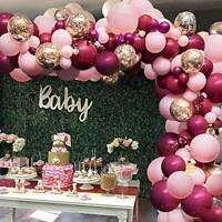 119Pcs Burgundy Pink Arch Garland Kit Burgundy Pink Gold Confetti Latex Balloons