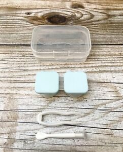 Contact Lens Case BLUE Travel Kit Snap Container Tweezers Inserter Applicator