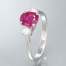Ring 14K/  WG - 2 Brill. ca. 0,10 ct  TW/VVS 1 Rubin ca. 1 ct. - 2,1 g - Gr. 54
