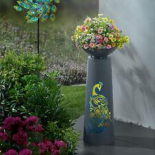 LED Pflanzsäule Pfau 59cm aus Metall Blumenschale Pflanzschale Säule Gartendeko
