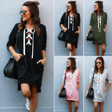 Hot Women Girl Casual Long Sleeve Lace-up Pullover Hoodies Jumper Mini Dress Top