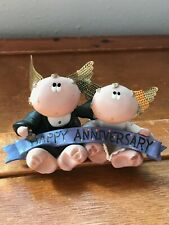 Estate Kirk 2001 Signed Resin Married Couple with Metal Angel Wings Happy Annive