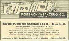1953 Korbach-werkzeug Wuppertal Manufacture Of Small Tools Ad