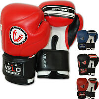 VELO Leather Boxing Gloves Punch Bag Fight gym MMA Muay Thai Sparring Pads