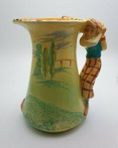VERY RARE ART DECO BURLEIGH WARE GOLFER JUG #5309 c.1930's - PERFECT