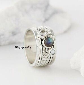 Labradorite Stone Ring 925 Sterling Silver Spinner Ring Meditation Ring Size