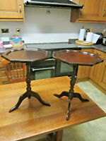 OLD PAIR ANTIQUE GEORGIAN STYLE MAHOGANY CARVED STEM TRIPOD WINE LAMP TABLES