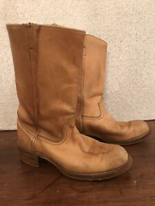 VINTAGE 1970s SEARS LIGHT BROWN NATURAL LEATHER COWBOY BOOTS-MENS 9.5D Tan Beige