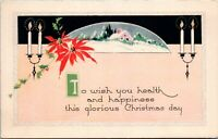 Deco Christmas Postcard Bay City Wisconsin Postmark 1923 Gibson Art Co. - Posted