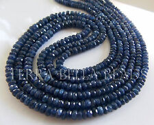 "9"" strand deep blue genuine BURMESE SAPPHIRE faceted rondelle beads 2.5mm - 4mm"