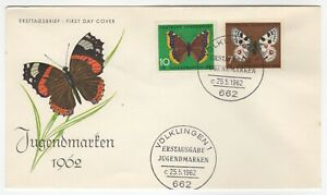 1962 May 5th. First Day Covers. Child Welfare Butterfly Issues. Two Covers.