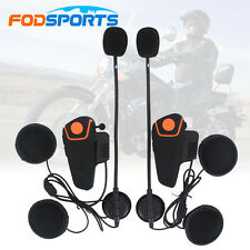 2x 1000M Bluetooth Moto Casco Interfono Intercom Cuffie Auricolari FM Radio